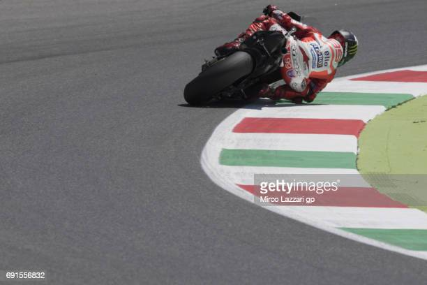 Jorge Lorenzo of Spain and Ducati Team rounds the bend during the MotoGp of Italy Free Practice at Mugello Circuit on June 2 2017 in Scarperia Italy