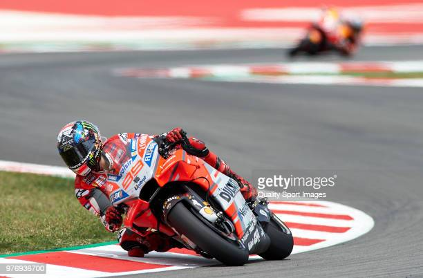 Jorge Lorenzo of Spain and Ducati Team rounds the bend during the MotoGP of Catalunya at Circuit de Catalunya on June 17 2018 in Montmelo Spain