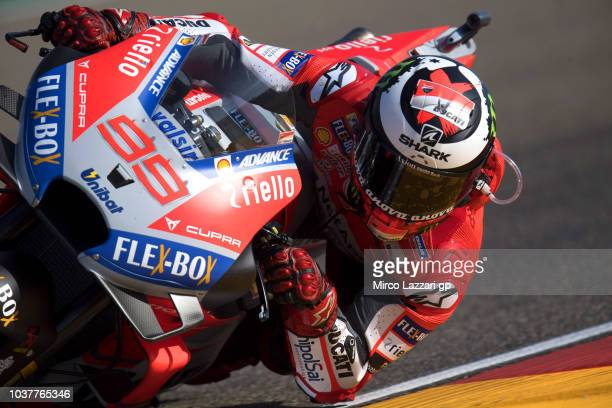 Jorge Lorenzo of Spain and Ducati Team rounds the bend during the qualifying practice during the MotoGP of Aragon Qualifying at Motorland Aragon...