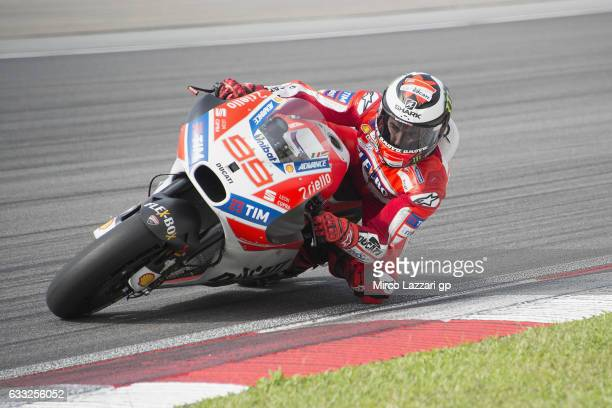Jorge Lorenzo of Spain and Ducati Team rounds the bend during the MotoGP Tests In Sepang at Sepang Circuit on February 1 2017 in Kuala Lumpur Malaysia