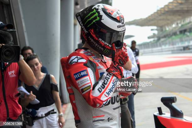 Jorge Lorenzo of Spain and Ducati Team starts from box during the MotoGP Of Malaysia Free Practice at Sepang Circuit on November 2 2018 in Kuala...