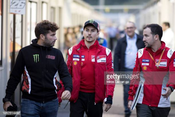 Jorge Lorenzo of Spain and Ducati Team walks in the paddock during the MotoGP of Japan Free Practice at Twin Ring Motegi on October 19 2018 in Motegi...