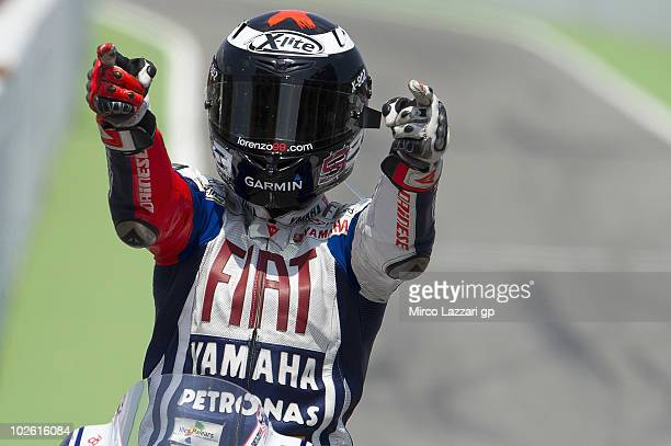 Jorge Lorenzo of Spain and Fiat Yamaha Team celebrates the victory at the end of MotoGP race of MotoGP of Catalunya in Catalunya circuit on July 4...