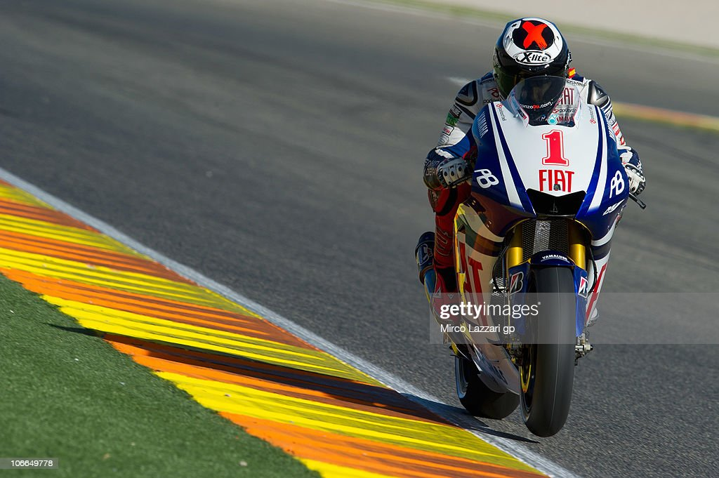 Jorge Lorenzo of Spain and Fiat Yamaha Team heads down a straight during the first test of 2011 season at Ricardo Tormo Circuit on November 9, 2010 in Valencia, Spain.