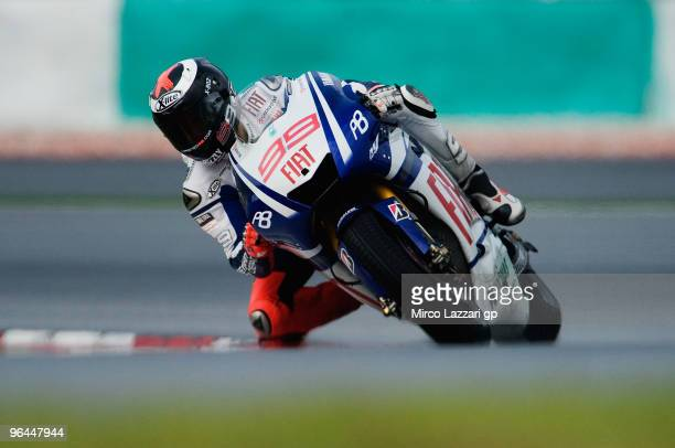Jorge Lorenzo of Spain and Fiat Yamaha Team rounds the bend during the final day of the MotoGP test at Sepang International Circuit near Kuala Lumpur...