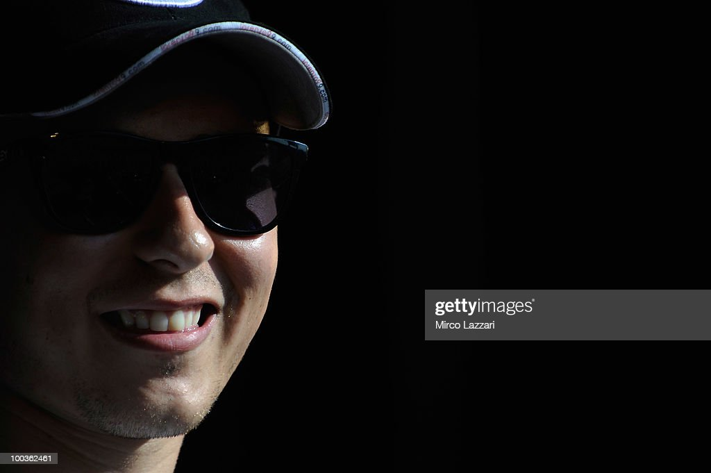 Jorge Lorenzo of Spain and Fiat Yamaha Team smiles in front of the fans during the event 'Riders attend pubblic interviews on stage in front of fans' after the first free practice of the MotoGP French Grand Prix in Le Mans Circuit on May 21, 2010 in Le Mans, France.