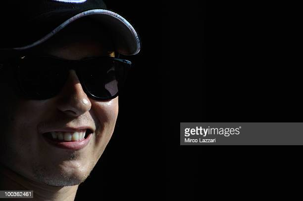 Jorge Lorenzo of Spain and Fiat Yamaha Team smiles in front of the fans during the event 'Riders attend pubblic interviews on stage in front of fans'...