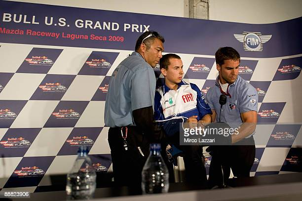 Jorge Lorenzo of Spain and Fiat Yamaha Team with sling for the shoulder after his crashed during the press conference for MotoGP World Championship...