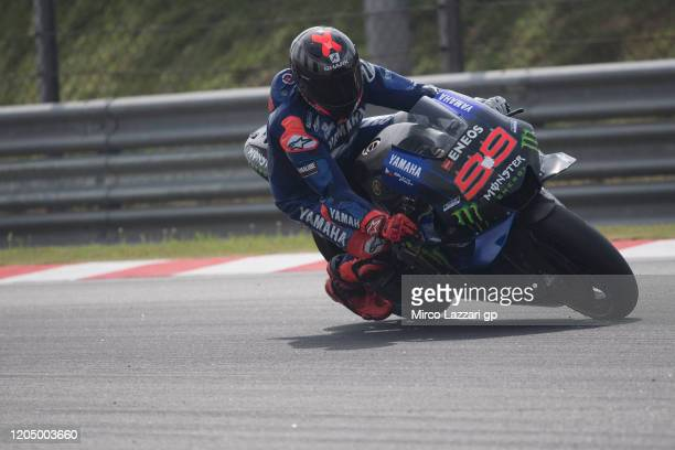Jorge Lorenzo of Spain and Monster Energy Yamaha MotoGP Team heads dwon a straight during the MotoGP Pre-Season Tests at Sepang Circuit on February...