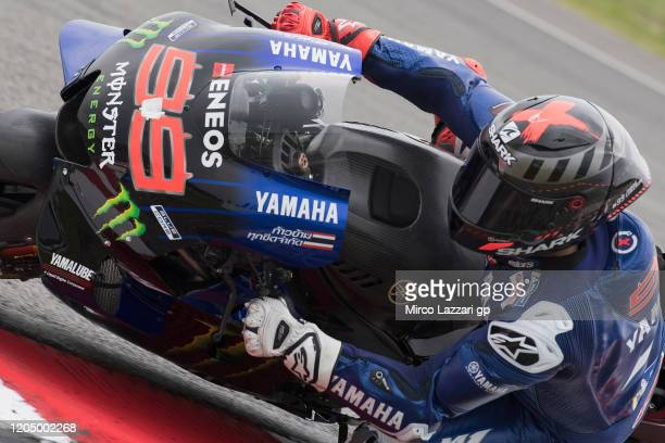 Jorge Lorenzo of Spain and Monster Energy Yamaha MotoGP Team rounds the bend during the MotoGP Pre-Season Tests at Sepang Circuit on February 09,...