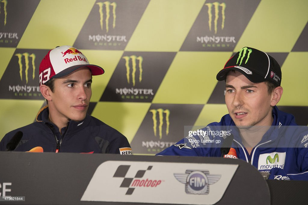 Jorge Lorenzo of Spain and Movistar Yamaha MotoGP and Marc Marquez of Spain and Repsol Honda Team (L) look on during the press conference at the end of the qualifying practice during the MotoGp of France - Qualifying at on May 16, 2015 in Le Mans, France.