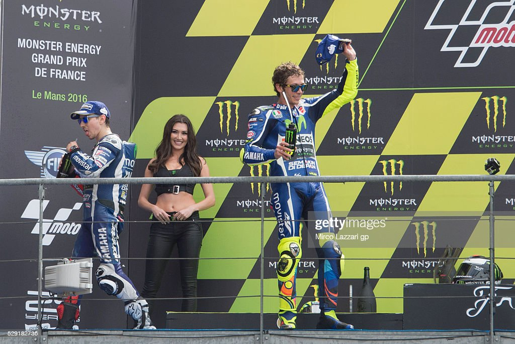 Jorge Lorenzo of Spain and Movistar Yamaha MotoGP and Valentino Rossi of Italy and Movistar Yamaha MotoGP (R) celebrate on the podium at the end of the MotoGP race during the MotoGp of France - Race at on May 8, 2016 in Le Mans, France.