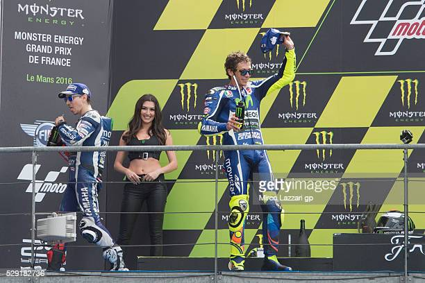 Jorge Lorenzo of Spain and Movistar Yamaha MotoGP and Valentino Rossi of Italy and Movistar Yamaha MotoGP celebrate on the podium at the end of the...