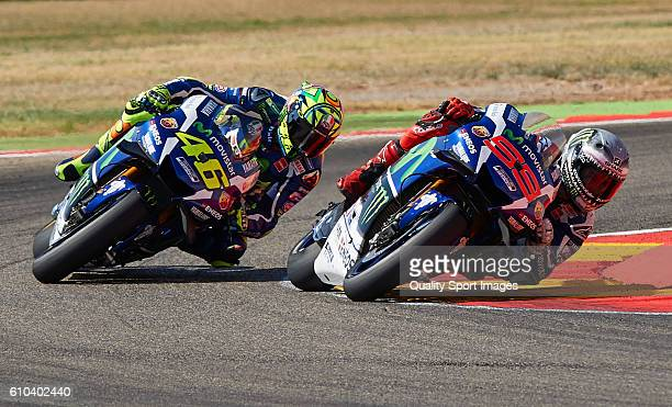 Jorge Lorenzo of Spain and Movistar Yamaha MotoGP and Valentino Rossi of Italy and Movistar Yamaha MotoGP round the bend during the MotoGP of Spain...