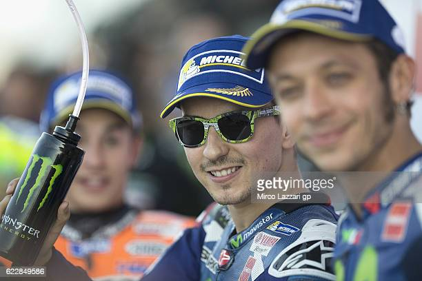 Jorge Lorenzo of Spain and Movistar Yamaha MotoGP celebrates at the end of the qualifying practice during the MotoGP of Valencia Qualifying at...
