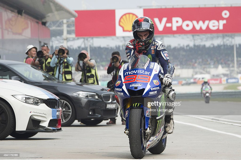 Jorge Lorenzo of Spain and Movistar Yamaha MotoGP celebrates second place at the end of the MotoGP race during the MotoGP Of Malaysia at Sepang Circuit on October 25, 2015 in Kuala Lumpur, Malaysia.