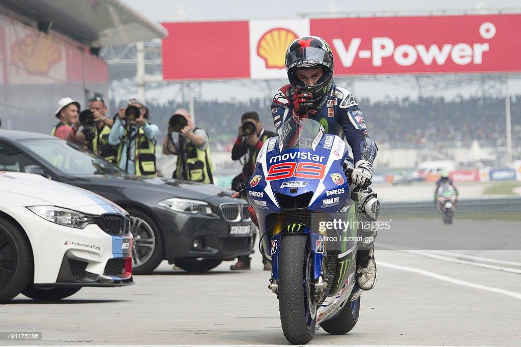 Jorge Lorenzo of Spain and Movistar Yamaha MotoGP celebrates second place at the end of the MotoGP race during the MotoGP Of Malaysia at Sepang Circuit on October 25, 2015 in Kuala Lumpur, Malaysia.