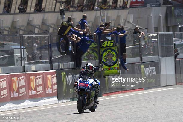 Jorge Lorenzo of Spain and Movistar Yamaha MotoGP celebrates the victory at the end of the MotoGP race during the MotoGp of France Race at on May 17...