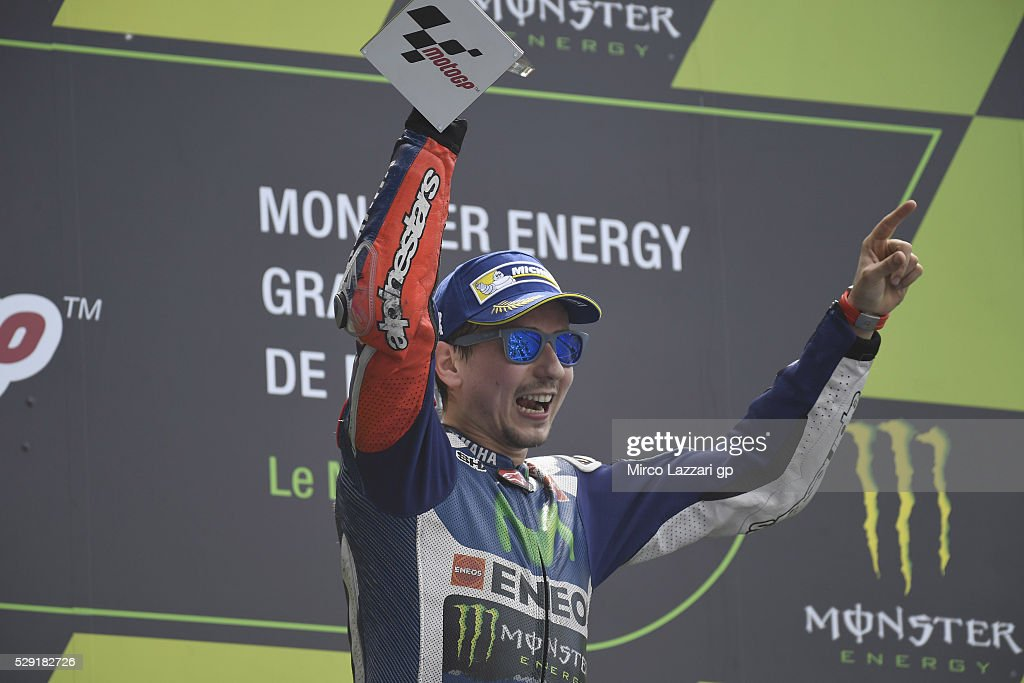 Jorge Lorenzo of Spain and Movistar Yamaha MotoGP celebrates the victory on the podium at the end of the MotoGP race during the MotoGp of France - Race at on May 8, 2016 in Le Mans, France.
