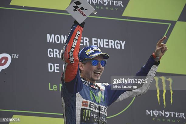 Jorge Lorenzo of Spain and Movistar Yamaha MotoGP celebrates the victory on the podium at the end of the MotoGP race during the MotoGp of France Race...