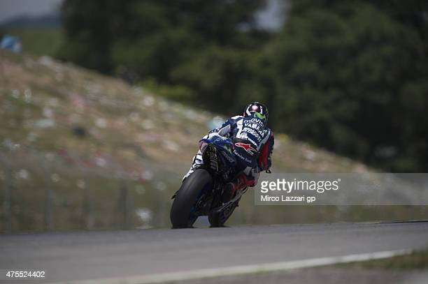 Jorge Lorenzo of Spain and Movistar Yamaha MotoGP heads down a straight during the Michelin tires test during the MotoGp Tests At Mugello at Mugello...