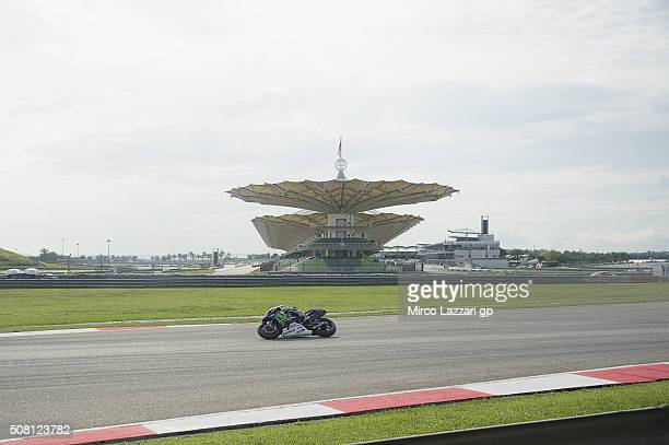 Jorge Lorenzo of Spain and Movistar Yamaha MotoGP heads down a straight during the MotoGP Tests In Sepang at Sepang Circuit on February 3 2016 in...