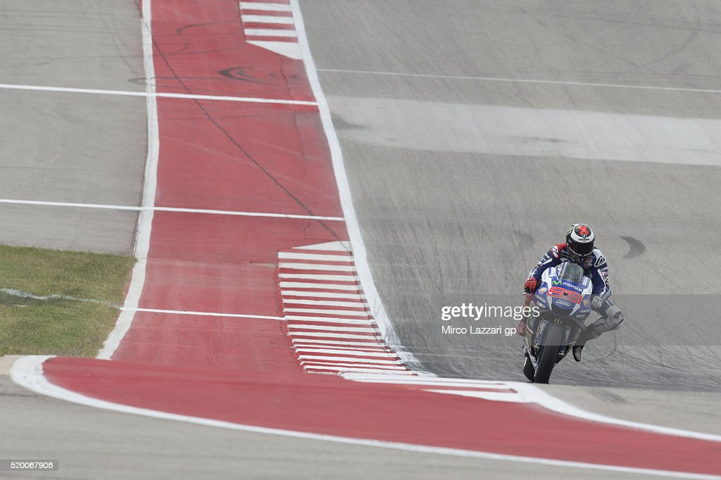 Jorge Lorenzo of Spain and Movistar Yamaha MotoGP heads down a straight during the MotoGp Red Bull U.S. Grand Prix of The Americas - Qualifying at Circuit of The Americas on April 9, 2016 in Austin, Texas.
