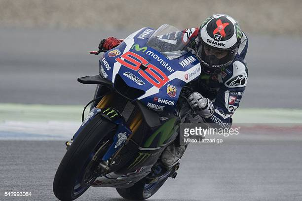 Jorge Lorenzo of Spain and Movistar Yamaha MotoGP heads down a straight during the qualifying practice during the at MotoGP Netherlands Qualifying on...
