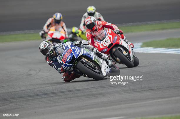 Jorge Lorenzo of Spain and Movistar Yamaha MotoGP leads the field during the MotoGP race during the MotoGp Red Bull US Indianapolis Grand Prix Race...