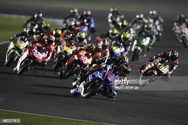 Jorge Lorenzo of Spain and Movistar Yamaha MotoGP leads the field during the MotoGP race during the MotoGp of Qatar - Race at Losail Circuit on March...