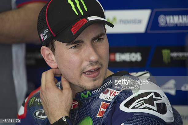 Jorge Lorenzo of Spain and Movistar Yamaha MotoGP looks on in box during the MotoGP Tests in Sepang Day One at Sepang Circuit on February 23 2015 in...