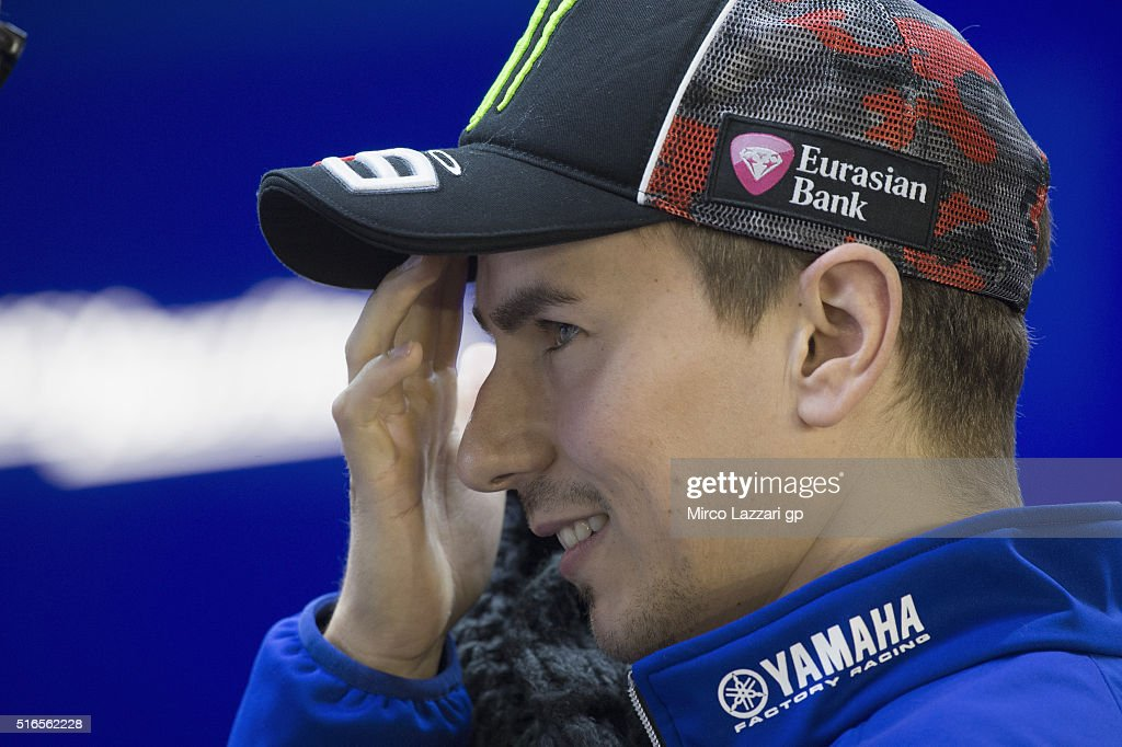 Jorge Lorenzo of Spain and Movistar Yamaha MotoGP looks on in box during the qualifying practice during the MotoGp of Qatar - Qualifying at Losail Circuit on March 19, 2016 in Doha, Qatar.