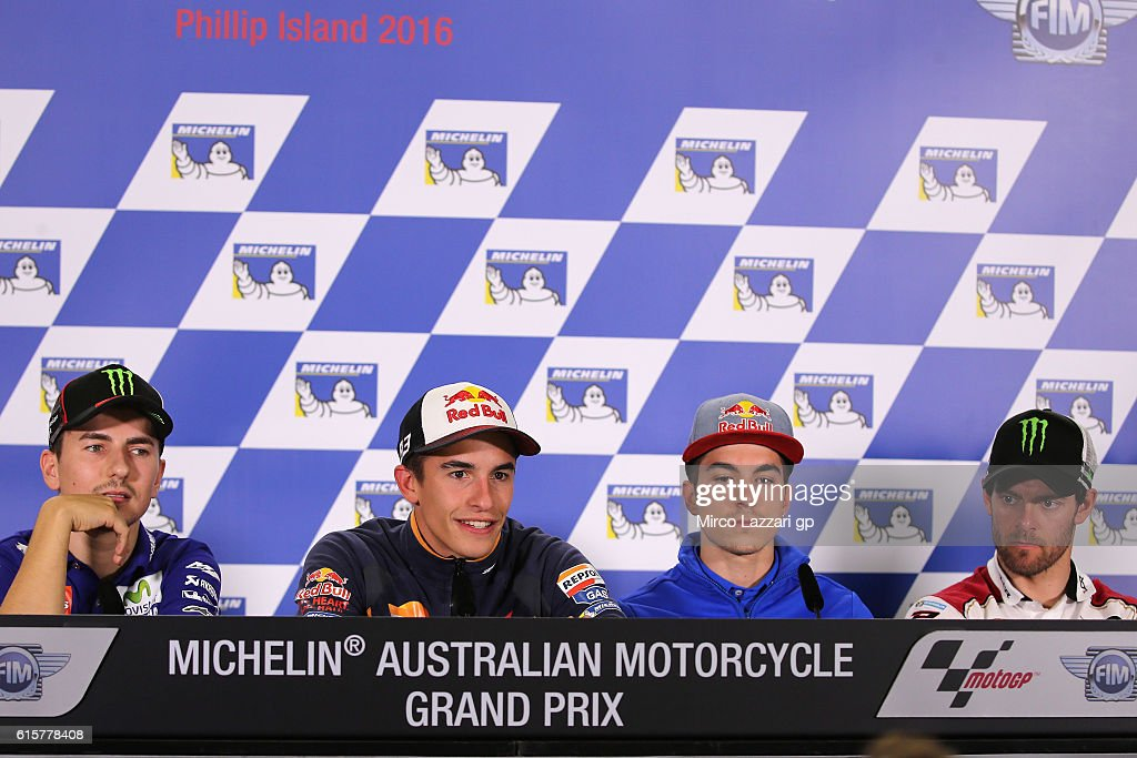 Jorge Lorenzo of Spain and Movistar Yamaha MotoGP, Marc Marquez of Spain and Repsol Honda Team, Maverick Vinales of Spain and Team Suzuki ECSTAR and Cal Crutchlow of Great Britain and LCR Honda look on during the press conference pre-event during previews ahead of the 2016 MotoGP of Australia at Phillip Island Grand Prix Circuit on October 20, 2016 in Phillip Island, Australia.