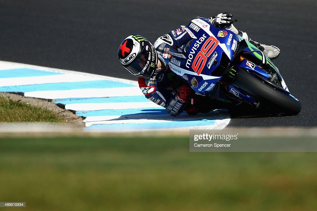 Jorge Lorenzo of Spain and Movistar Yamaha MotoGP rides during qualifying for the 2015 MotoGP of Australia at Phillip Island Grand Prix Circuit on October 17, 2015 in Phillip Island, Australia.