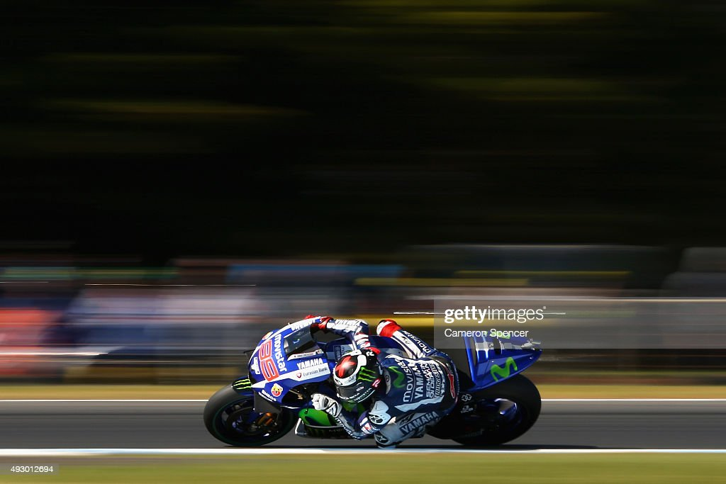 Jorge Lorenzo of Spain and Movistar Yamaha MotoGP rides during qualifying for the 2015 MotoGP of Australia at Phillip Island Grand Prix Circuit on October 17, 2015 in Phillip Island, Australia.