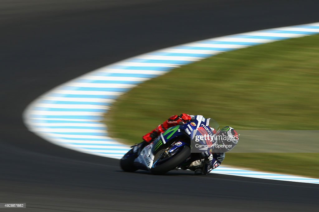 Jorge Lorenzo of Spain and Movistar Yamaha MotoGP rides during free practice for the 2015 MotoGP of Australia at Phillip Island Grand Prix Circuit on October 16, 2015 in Phillip Island, Australia.