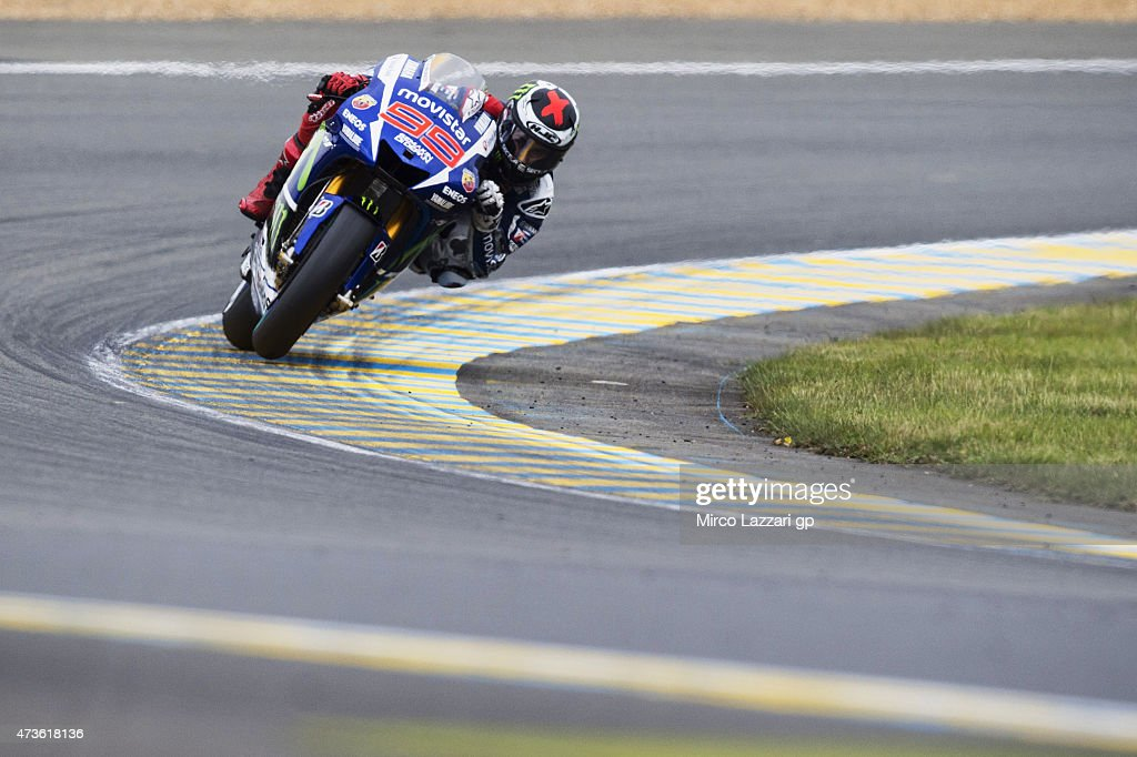 Jorge Lorenzo of Spain and Movistar Yamaha MotoGP rounds the bend during the qualifying practice during the MotoGp of France - Qualifying at on May 16, 2015 in Le Mans, France.