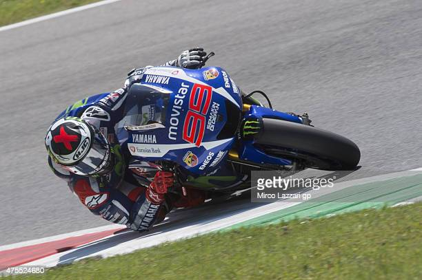 Jorge Lorenzo of Spain and Movistar Yamaha MotoGP rounds the bend during the Michelin tires test during the MotoGp Tests At Mugello at Mugello...