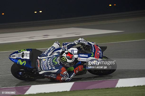 Jorge Lorenzo of Spain and Movistar Yamaha MotoGP rounds the bend during the MotoGP Tests In Doha at Losail Circuit on March 3 2016 in Doha Qatar