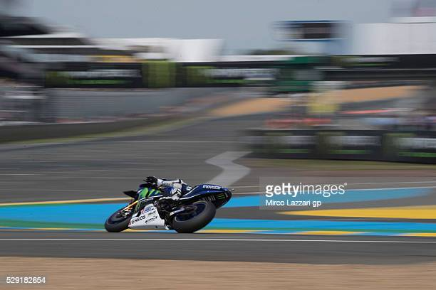 Jorge Lorenzo of Spain and Movistar Yamaha MotoGP rounds the bend during the MotoGP race during the MotoGp of France Race at on May 8 2016 in Le Mans...