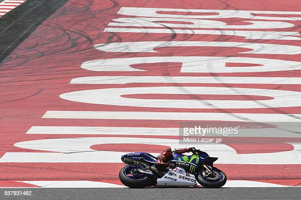 Jorge Lorenzo of Spain and Movistar Yamaha MotoGP rounds the bend during the free practice during the MotoGp of Catalunya Free Practice at Circuit de...