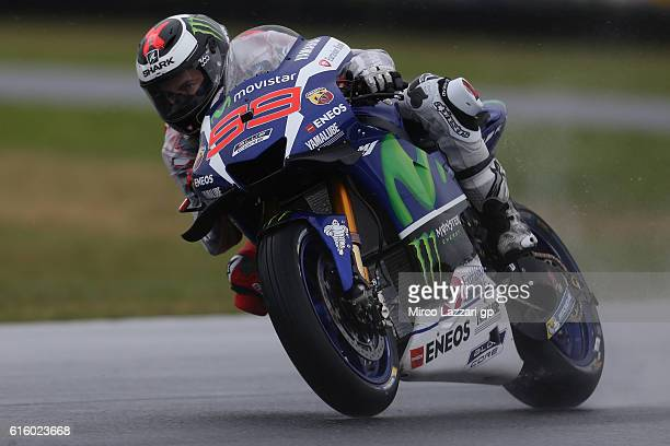 Jorge Lorenzo of Spain and Movistar Yamaha MotoGP rounds the bend during free practice for the 2016 MotoGP of Australia at Phillip Island Grand Prix...