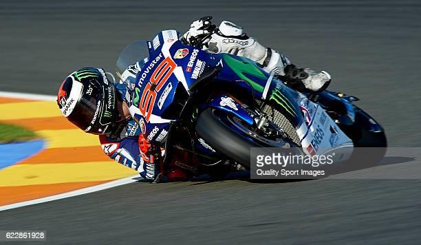 Jorge Lorenzo of Spain and Movistar Yamaha MotoGP rounds the bend during the MotoGP of Valencia Qualifying at Comunitat Valenciana Ricardo Tormo...