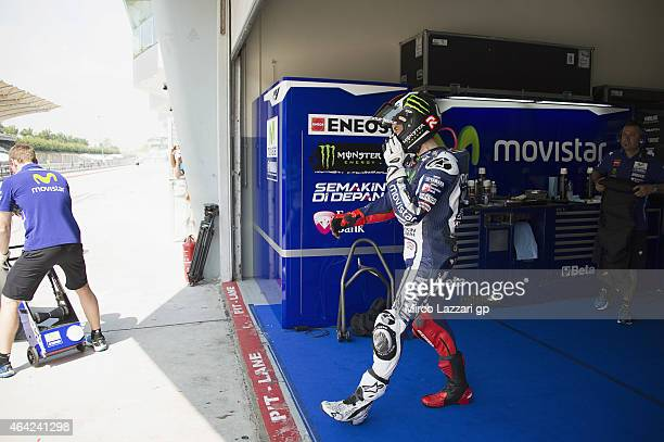 Jorge Lorenzo of Spain and Movistar Yamaha MotoGP starts from box during the MotoGP Tests in Sepang Day One at Sepang Circuit on February 23 2015 in...
