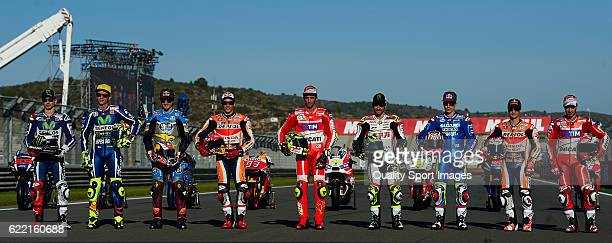 Jorge Lorenzo of Spain and Movistar Yamaha MotoGP Valentino Rossi of Italy and Movistar Yamaha MotoGP Jack Miller of Australia and Estrella Galicia...