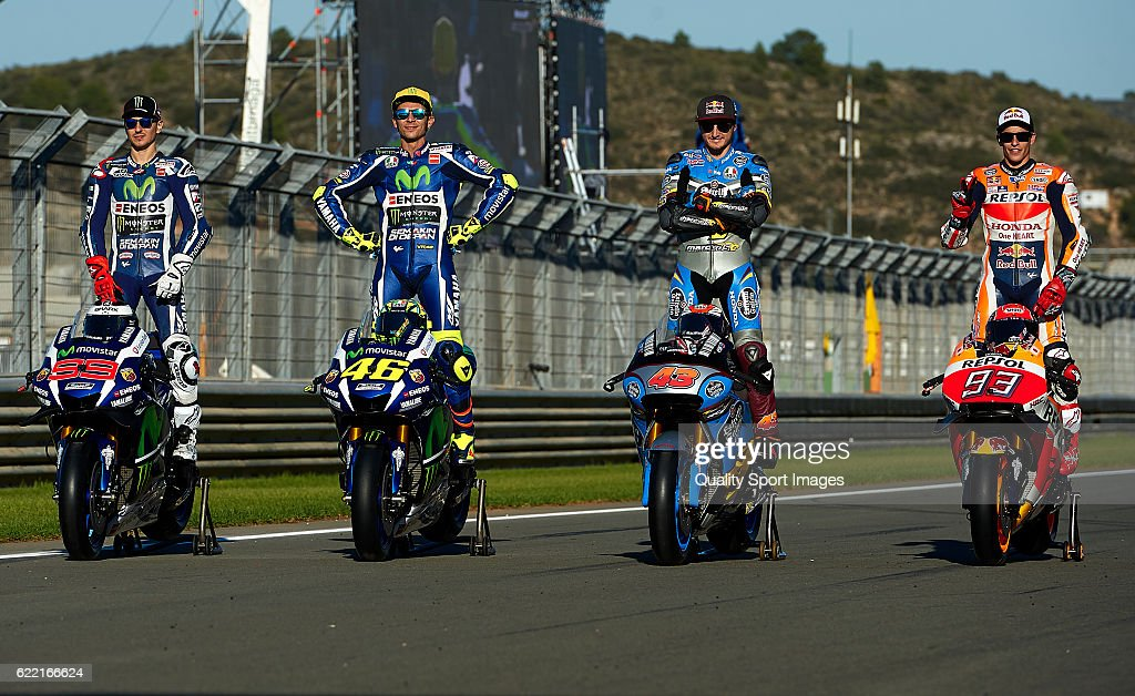 Jorge Lorenzo of Spain and Movistar Yamaha MotoGP, Valentino Rossi of Italy and Movistar Yamaha MotoGP, Jack Miller of Australia and Estrella Galicia 0,0 Marc VDS Honda and Marc Marquez of Spain and Repsol Honda Team pose during the photo opportunity during the MotoGP of Valencia - Previews at Comunitat Valenciana Ricardo Tormo Circuit on November 10, 2016 in Valencia, Spain.