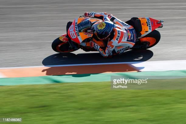 Jorge Lorenzo of Spain and Repsol Honda Team during the free practice of Gran Premio Motul de la Comunitat Valenciana at Ricardo Tormo Circuit on...