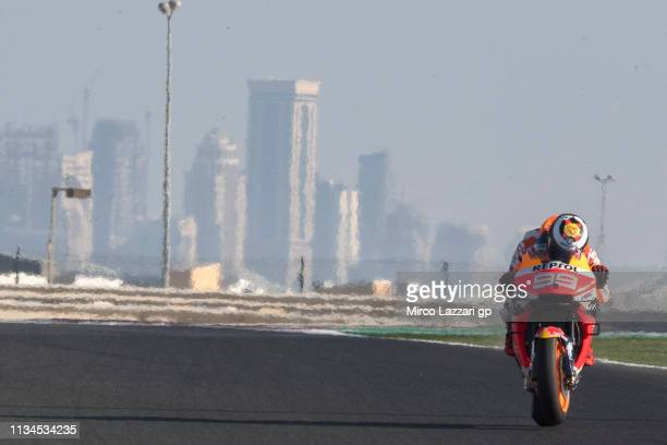 Jorge Lorenzo of Spain and Repsol Honda Team heads down a straight during the MotoGP of Qatar Free Practice at Losail Circuit on March 08 2019 in...