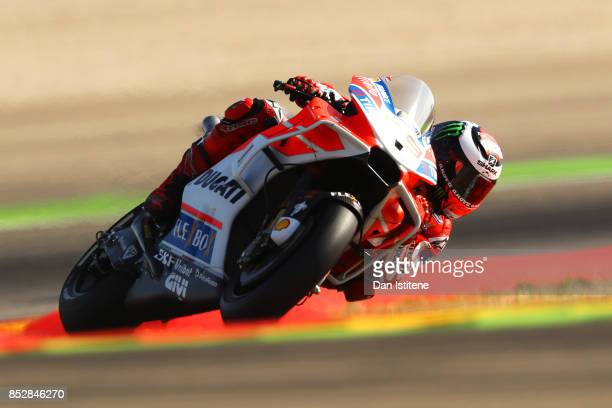 Jorge Lorenzo of Spain and the Ducati Team rides during warmup before the MotoGP of Aragon at Motorland Aragon Circuit on September 24 2017 in...