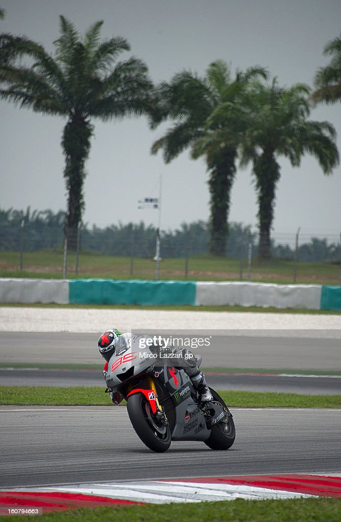 Jorge Lorenzo of Spain and Yamaha Factory Racing heads down a straight during the MotoGP Tests in Sepang - Day Four at Sepang Circuit on February 6, 2013 in Kuala Lumpur, Malaysia.
